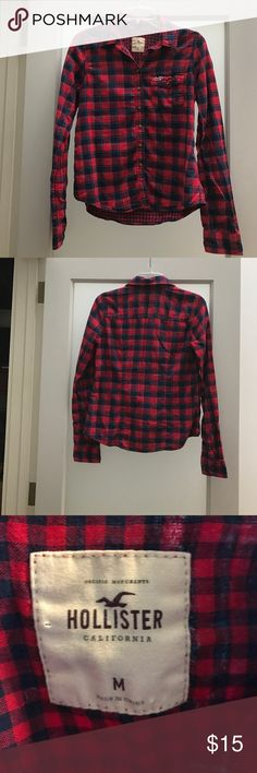 Red and blue Hollister flannel like button up Traditional red and blue in a Hollister flannel like shirt. Super cute, size M, but I would say it fits more like a small. Great by itself, or over a camisole left open. Jeans or leggings would make a cute pairing with it. Hollister Tops Button Down Shirts