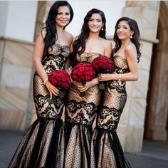 Black with gold underlay lace bridesmaids dresses