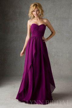 Flattering A Line Sweetheart Chiffon Long Bridesmaid Dress