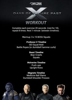 Try our X-Men Workout today at the gym! Get ripped like Wolverine.