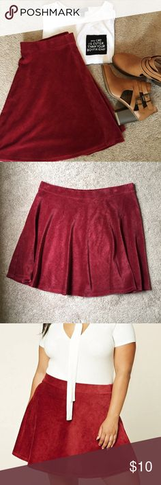 Forever 21+ Red Corduroy Circle Skirt Size 3X This skirt has never been worn! It's super soft and flows nicely. Could dress it up with a blouse and heels or dress it down with a T shirt and some sneakers!!! Size 3X OFFERS WELCOME!! Forever 21 Skirts Circle & Skater