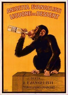 Decorate your space with vintage whimsy! A cheeky chimp takes a swig of dessert liqueur in this playful vintage art poster. This framed and texture-glazed poster comes hand-finished with a non-reflect