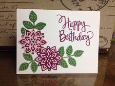 Stampin Up! Flourish Thinlits inlay card using Press 'n Seal technique