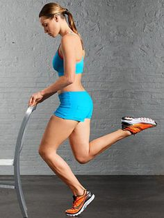 One-Legged Calf Squat  Targets: Quads and calves  Done while standing on a step with your heel off the edge, this engages 79 percent of your calf muscles.