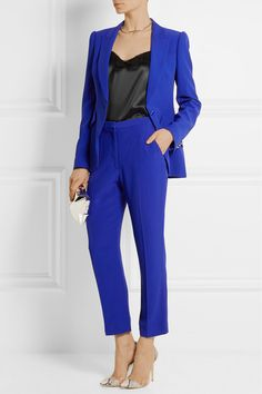 Cobalt crepe Button fastening at front 50% acetate, 50% rayon; lining: 75% rayon, 25% silk Dry clean