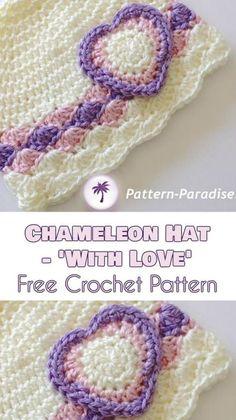 Chameleon Hat 'With Love' – Free Crochet Pattern | Your Crochet Crochet Baby Blanket Beginner, Baby Girl Crochet, Crochet Baby Hats, Crochet Gifts, Crochet For Kids, Free Crochet, Crocheted Hats, Crochet Clothes, Booties Crochet