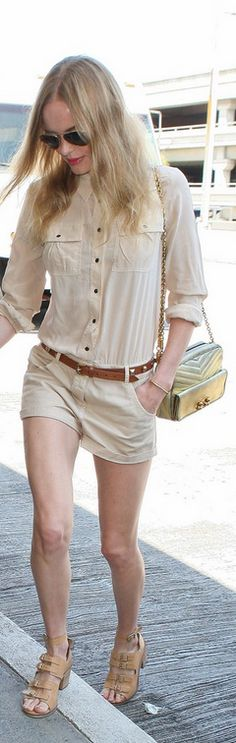 Who made Kate Bosworth's beige buckle sandals, aviator sunglasses, and long sleeve nude romper that she wore at LAX airport on July 29, 2013?