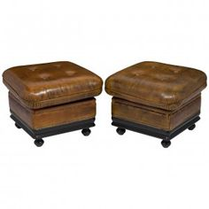 1940s French Leather Ottomans