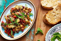 Chef Curtis Stone adapts his live-fire cooking to the stove top with this ingenious and easy recipe for smoky eggplant spread served with thick-cut toast and luscious roasted tomatoes. Side Recipes, Chef Recipes, Whole Food Recipes, Snack Recipes, Snacks, Cooking Stone, Fire Cooking, Cooking Light, Curtis Stone Recipes