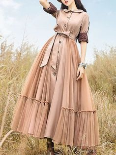 Turn-down collar swing casual long sleeve dress alicetide Outfit Jeans, Vintage Skirt, Vintage Dresses, Fashion Mode, Fashion Outfits, Types Of Sleeves, Dresses With Sleeves, Sleeve Dresses, Vestidos Fashion