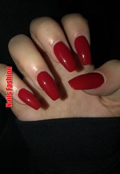 In seek out some nail designs and ideas for your nails? Listed here is our list of 40 must-try coffin acrylic nails for fashionable women. Red Acrylic Nails, Acrylic Nail Designs, Red Gel Nails, Acrylic Gel, Red Nails With Glitter, Deep Red Nails, Pink Nail, Prom Nails, Long Nails