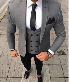 Clothing Type: Men's Suits Suits Type: Wedding Suit, Suit, Plus Size Suit Pant Closure Type: Zipper Fly Closure Type: Double Breasted Vest Sty. Terno Slim Fit, Prom Blazers, Blazers For Men, Plus Size Suits, Moda Formal, Look Man, Mens Fashion Suits, Fashion Night, Suit And Tie