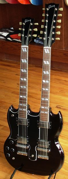 Gibson SG Doubleneck (Jimmy Page's Double Guitar) Gibson Sg, Gibson Les Paul, Lefty Guitars, Gibson Guitars, Fender Guitars, Acoustic Guitars, Guitar Shop, Music Guitar, Cool Guitar