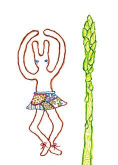 A Ballet Bunny and An Asparagus (Print), rabbit print, children illustration, animal print, nursery decor, reproduction, bunny illustration