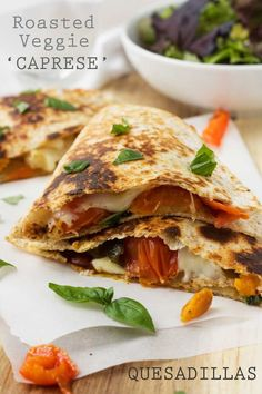Roasted vegetable caprese quesadillas - a great way to use up roasted vegetable leftovers!