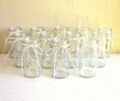 Set of 12 Small Clear Glass Jars Wedding Vases with All Natural Cotton Twine
