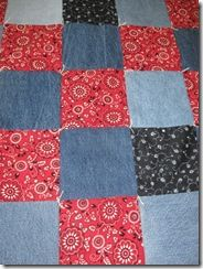 denim bandana quilt... if you really like the literal...we could make place mat type areas more like rectangles then the squares...