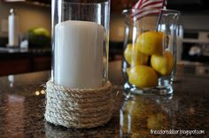 the colored door: Rope Candle Holders
