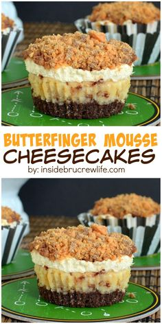 Butterfinger Mousse Cheesecakes - these vanilla and peanut butter cheesecakes are filled with Butterfinger candy inside and on top! I promise they will disappear in a hurry! Cupcake Recipes, Baking Recipes, Cupcake Cakes, Dessert Recipes, Oreo Dessert, Dessert Shots, Mini Desserts, Just Desserts, Mini Cheesecakes