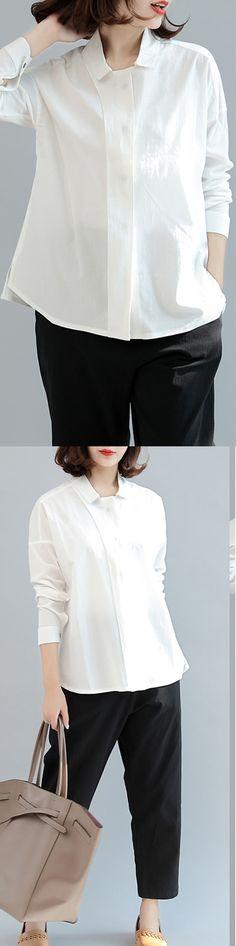 white unique cotton tops loose brief blouse long sleeve shirts