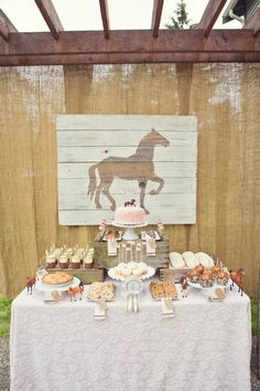 Hostess with the Mostess® - Vintage Pony Party horse-shaped cookies, chocolate-dipped shortbread, caramel apples, oatmeal cookies, apple pie