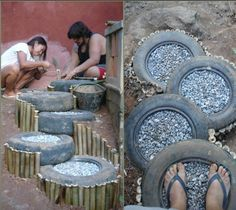 Tires, yes let us make these stairs #tire #recycle