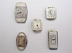 Five Vintage Wrist Watch Faces. ($10 for 5 faces)  Available at http://www.uncannyartist.com/products/five-metal-watch-faces.