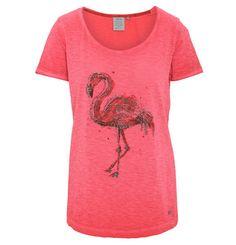 CECIL T-Shirt, Flammgarn, Flamingo-Print, Perlen-Verzierung rot-pink
