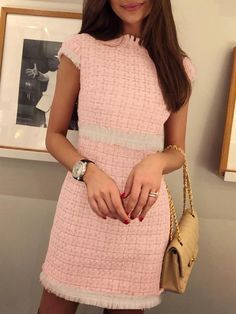 Fringes Short Sleeve Mini Tweed Dress Shop- Women's Best Online Shopping - Offering Huge Discounts on Dresses, Lingerie , Jumpsuits , Swimwear, Tops and More. Elegant Outfit, Classy Dress, Classy Outfits, Cute Outfits, Classy Chic, Work Outfits, Summer Outfits, Casual Outfits, Winter Outfits