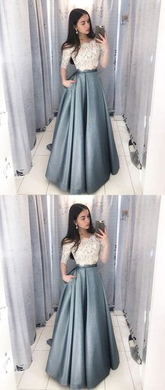 Dramatic Two Piece Long Prom Dresses with Sleeves, Off the Shoulder Grey Prom Dress with Pockets, Hottest Long Prom Party Dresses for Teens Grey Prom Dress, Elegant Prom Dresses, Cheap Evening Dresses, Dress Lace, Dress Formal, Prom Dresses For Teens Long, Lace Outfit, Prom Dresses Long Modest, Lace Prom Gown
