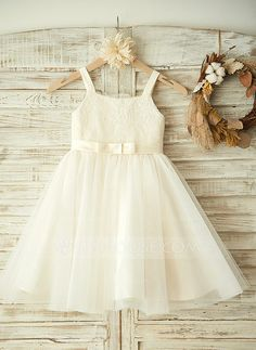 [US$ 61.99] A-Line/Princess Knee-length Flower Girl Dress - Tulle/Lace Sleeveless Straps With Lace/Bow(s)