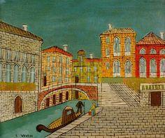 Venecia- Escena del canal con un puente