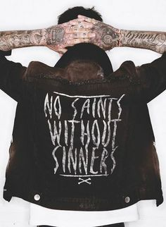 """Rock'n'roll Style ☆ """"No saints without sinners"""" Jacket. Sin Star Clothing"""