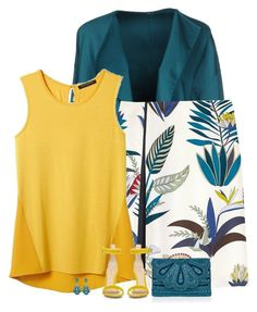 """""""yellow and teal"""" by divacrafts ❤ liked on Polyvore featuring N_8, Tory Burch, Banana Republic, Gianvito Rossi, Accessorize and Original"""