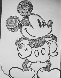 Mickey Mouse Zentangle-Art discovered by Leo on We Heart It Mandalas Painting, Mandalas Drawing, Zentangles, Disney Drawings, Art Drawings Sketches, Drawing Disney, Disney Coloring Pages, Colouring Pages, Art Therapy Projects