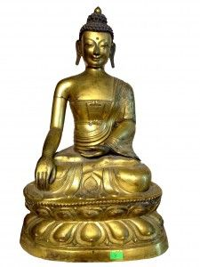 Antique 18th Century Chinese Bronze Gilt Copper Buddha height 46 cm weight 2.200kg -