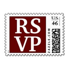 Red White Block Lettering RSVP Wedding Stamps   Wedding Postage Stamps