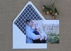 Custom save the date #wedding #custom #design #graphicdesign #savethedate #envelopeliner #engagementphotos #engaged