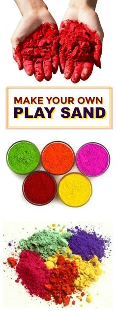 homemade colored sand for kids Fun Projects For Kids, Summer Crafts For Kids, Summer Activities For Kids, Summer Kids, Diy For Kids, Diy Projects, Activities For Autistic Children, Sensory Activities Toddlers, Educational Activities For Kids