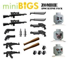 Zombie Apocalypse Pack (21 Pieces) - LEGO Compatible Weapons Lego Army, Lego Military, Lego Minecraft, Lego Moc, Legos, Lego For Adults, Lego Zombies, Zombie Apocalypse, Apocalypse Survival