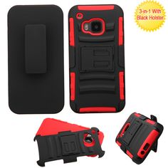 MYBAT HTC One M9 Case Advanced Armor Holster Combo - Red