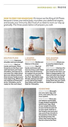 How to prep for headstand- maybe one day I will be able to do This.