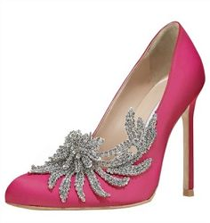 Fantasy wedding shoes: Manolo Blahnik Swan Embellished Satin Pump in Cranberry from Bergdorf Goodman, $1,295.