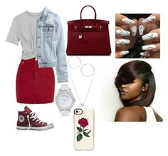 """""""Untitled #684"""" by queen-ayanna on Polyvore featuring Topshop, T By Alexander Wang, Converse, H&M, Tiffany & Co., Miss Selfridge, Marc by Marc Jacobs, Hermès and Casetify"""