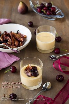 White Chocolate Pots de Creme recipe with honey roasted figs and cherries