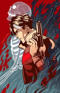 "Art From the Inkwell — ""Red Hood AKA Jason Todd. Batman's second partner. Nightwing, Batgirl, Batwoman, Batman Robin, Batman Comic Art, Im Batman, Gotham Batman, Shazam Comic, Red Hood Jason Todd"
