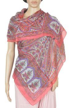 Pure Silk long printed scarf Stole women's fashion hijab ID5052 #VRA #Scarf