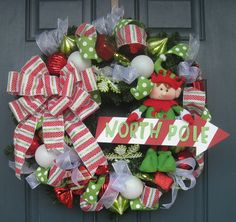 Christmas Elf with North Pole Sign Door Wreath by ScrapAndSave