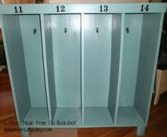 Turn a old bookcase into a cute row of lockers for your little ones to store their coats,& backpacks, etc.. What a clever idea!