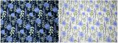 Rose & Hubble Cotton Poplin Fabric - Floral Sprig Design - Available in Navy & Ivory - WeaverDee.com
